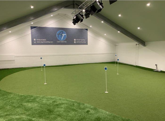Indoor golf practice at Gloucester Golf.