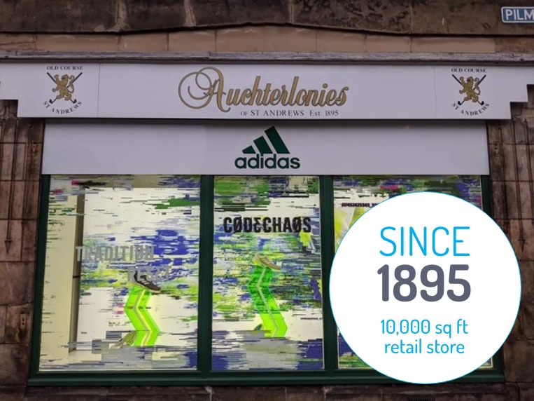 Auchterlonies of St Andrews, since 1895: 10,000 square foot golf retail store.